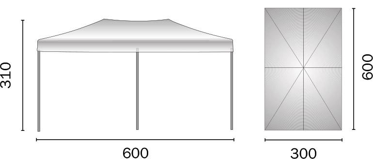 Dimensioni Gazebo pieghevole in alluminio rettangolare FIERA 3x6 m