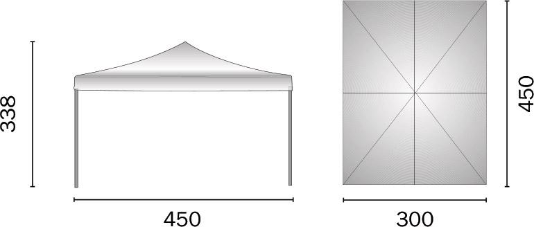 Dimensioni Gazebo pieghevole in alluminio rettangolare FIERA 3x4,5 m
