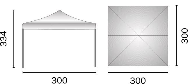 Dimensioni Gazebo pieghevole quadrato MERCATO 3 x 3 m