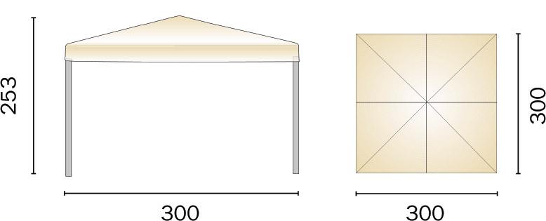 Dimensioni Gazebo in ferro quadrato PORTA 3x3 m