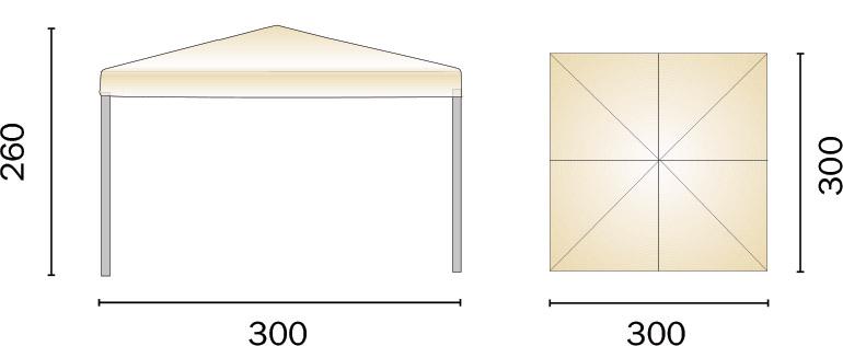 Dimensioni Gazebo pieghevole in alluminio quadrato PORTA 3x3 m