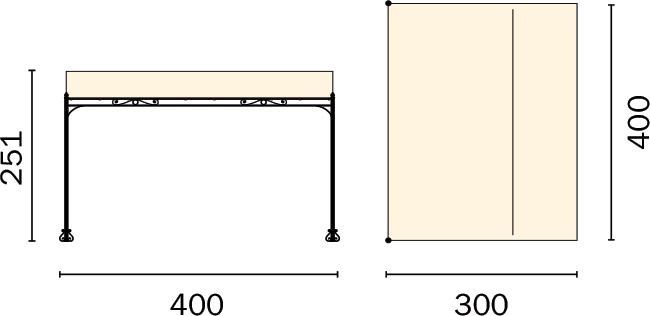Dimensioni Pergola a parete in ferro 4 x 3 m