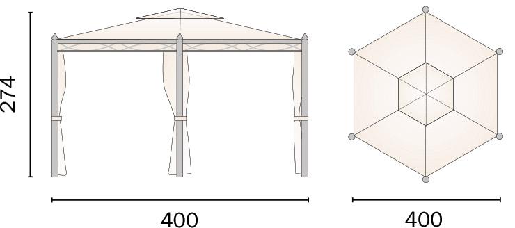 Dimensioni Gazebo in ferro esagonale PESARO Ø 4 m
