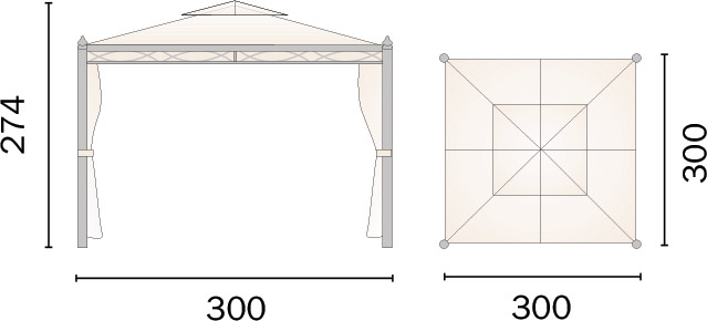 Dimensioni Gazebo in ferro quadratoPESARO 3x3m
