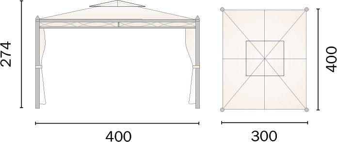 Dimensioni Gazebo in ferro rettangolare PESARO 3x4m