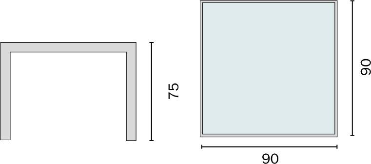 Dimensioni Tavolo da esterno in alluminio AMALFI
