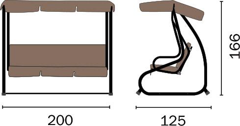Dimensioni Dondolo 3 posti in ferro antracite e telo tortora