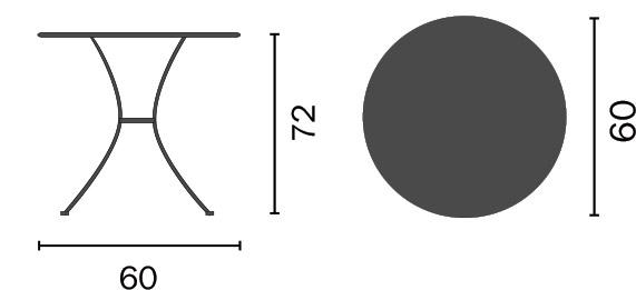 Dimensioni Tavolo in ferro rotondo BAVIERAØ 60 x h72 cm