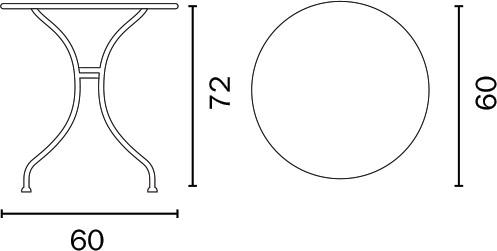 Dimensioni Tavolo in ferro rotondo BAVIERAØ 90 x h74 cm