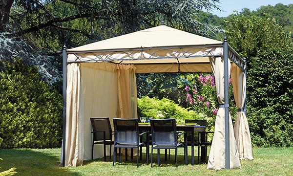 Gazebo da giardino in ferro PESARO quadrato 3 x 3 m