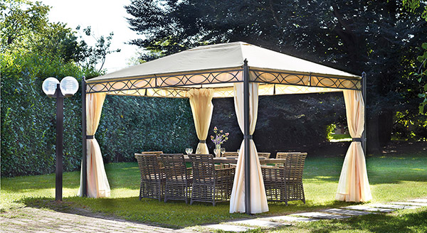 Gazebo da giardino in ferro PESARO rettangolare 3 x 4 m