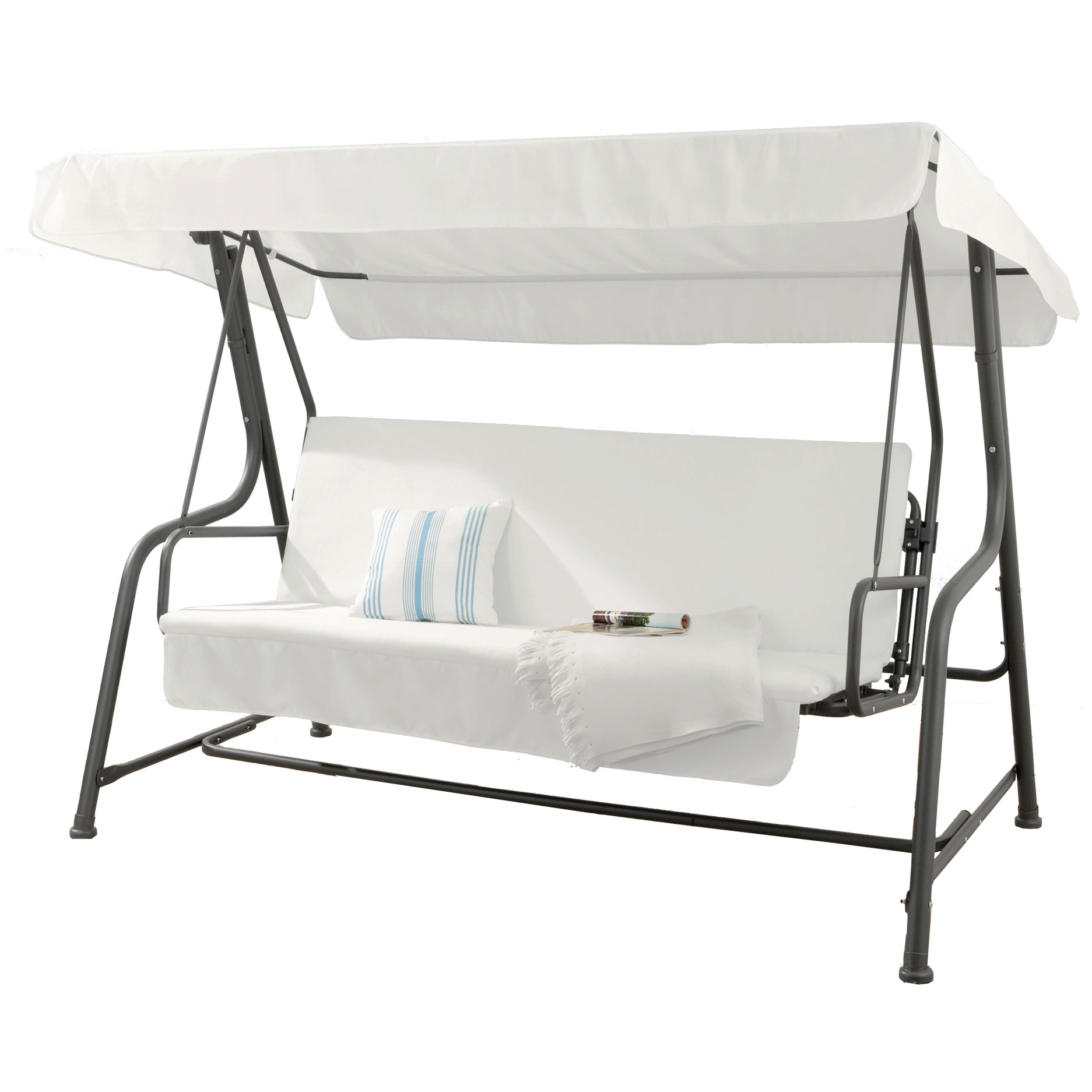 Dondolo grande 4 posti in acciaio trasformabile in letto - Letto a dondolo ...