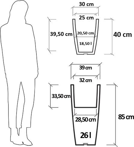 Dimensioni Fioriera da giardino in resina ORCHIDEA