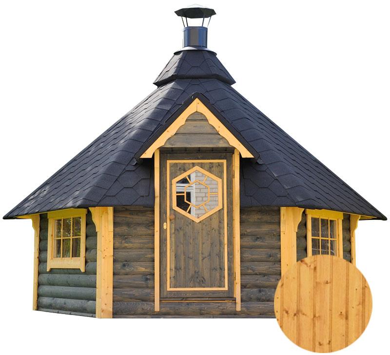 casetta in legno con barbecue aura