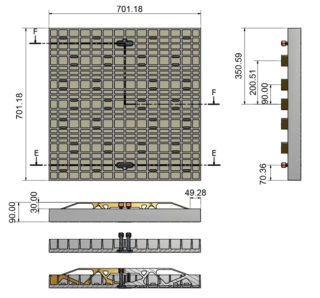 Dimensioni canaletta con doppie maniglie 700 x 700 mm