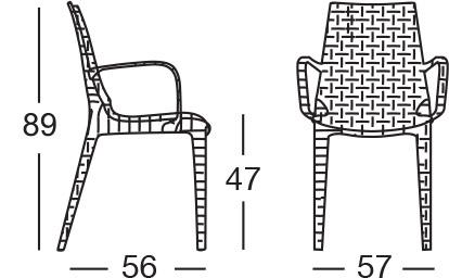 Dimensioni sedia Lucrezia con braccioli by Scab