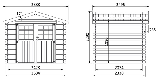 dimensioni casetta in legno Nora