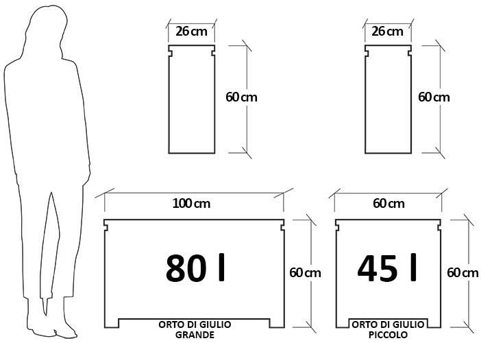 Dimensioni Fioriera verticale da giardino in polietilene ORTO di GIULIO
