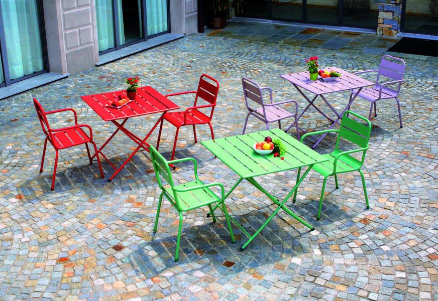 Sedie Colorate Da Giardino.Sedia Monopoli Pieghevole In Ferro Colorato Arredo Giardino Com