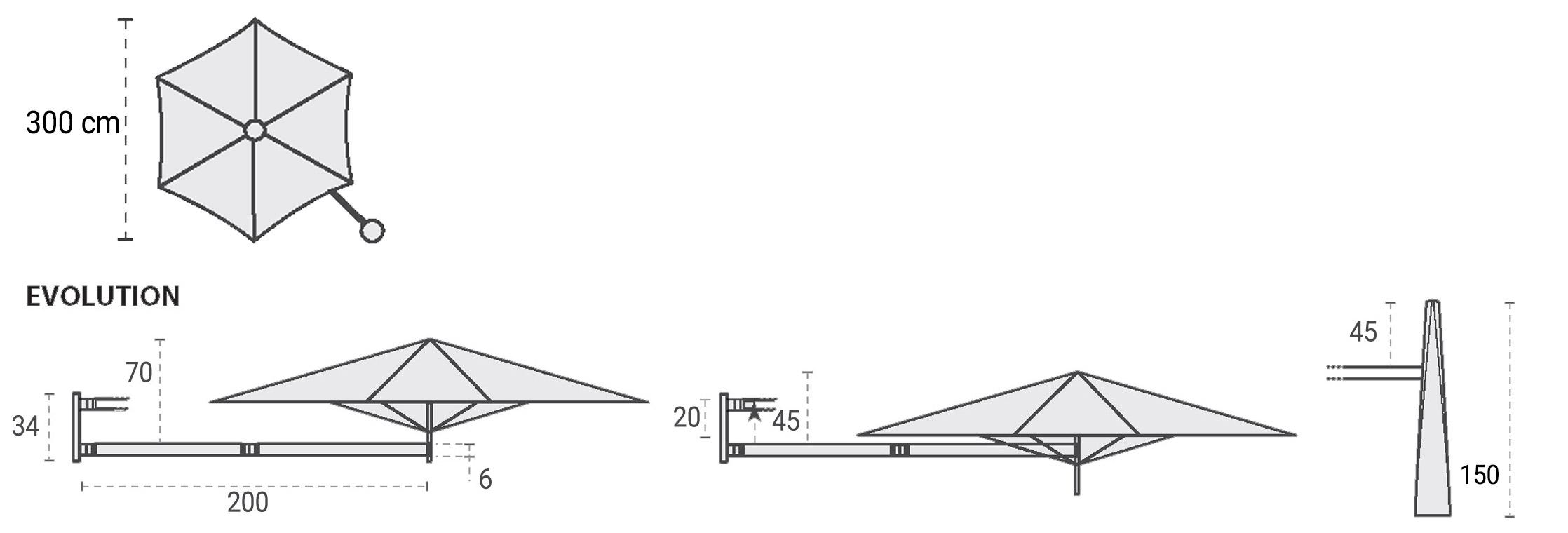 Dimensioni ombrellone da giardino PARAFLEX