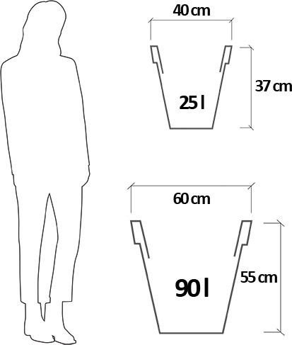 Dimensioni Vaso da esterno in polietilene ANGELICA