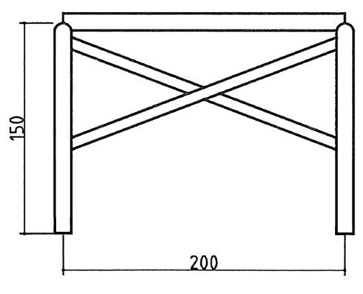 Dimensione Recinzione a croce di S. Andrea a palo pieno in legno di pino