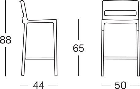 Dimensioni sgabello DIVO by Scab