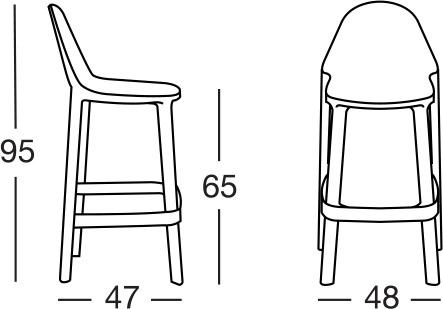 Dimensioni sgabello PIU' by Scab