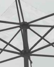 Ombrellone rettangolare con palo antracite in alluminio e apertura a manovella