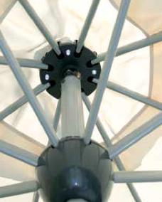 Ombrellone rotondo MARSIGLIA Ø 3 mt in alluminio con apertura automatica e luci Led