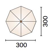 Dimensioni ombrellone BILBAO con palo laterale in alluminio