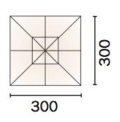 Ombrellone quadrato MAIORCA 3x3 mt in alluminio con palo laterale, maniglione e fodero