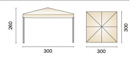 Gazebo quadrato 3x3 m. pieghevole