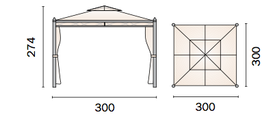 Gazebo antivento quadrato 3x3 mt.