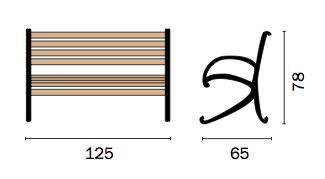 Dimensioni Panchina da giardino in legno di rovere e ghisa ORLANDO