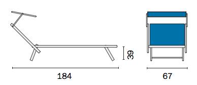 Lettino mare con tettuccio in alluminio