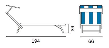Lettino in acciaio con tettuccio