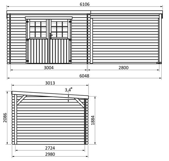 dimensioni casetta in legno sonar