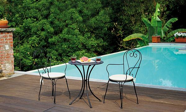 Tavolo in ferro rotondo BAVIERA da giardino Ø 60 x h72 cm colore nero