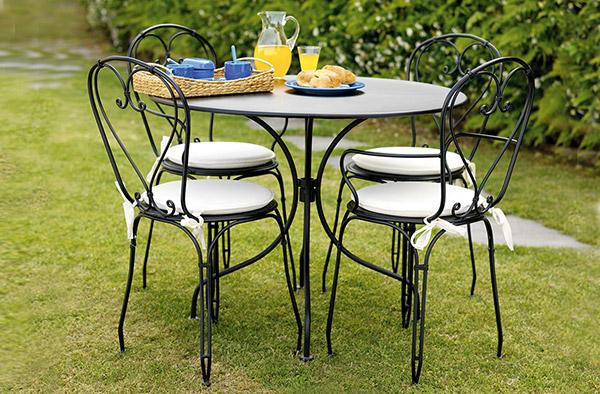 Tavolo in ferro rotondo BAVIERA da giardino Ø 90 x h74 cm colore nero