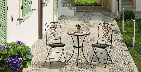 Tavolo in ferro e mosaico in ceramica rotondo vittoria for Tavolo rotondo mosaico