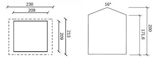 dimensioni casetta in legno Tarn