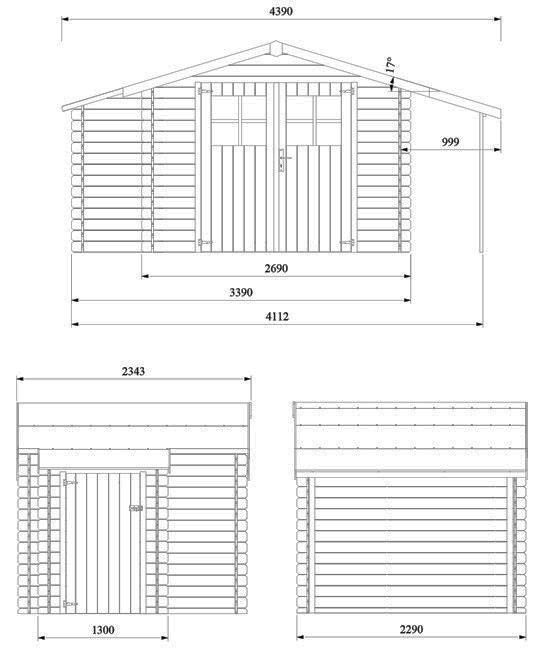 dimensioni casetta in legno Tessa