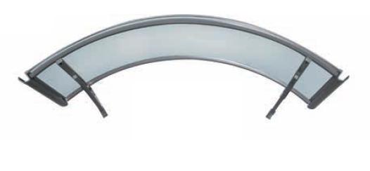 Pensilina in alluminio ad arco copertura policarbonato compatto satinato con sgocciolatoio