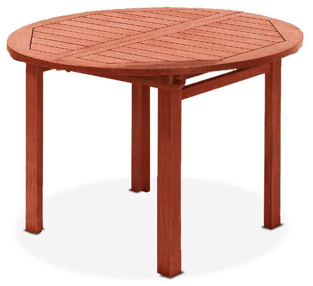 Tavolo rotondo in legno keruing AGAVE, allungabile