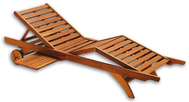 Lettino prendisole in legno ALOE con portaoggetti