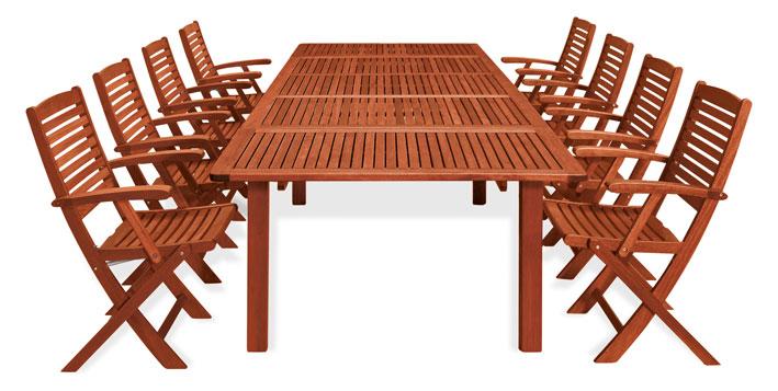 Set pranzo da giardino in legno con tavolo e 8 sedie