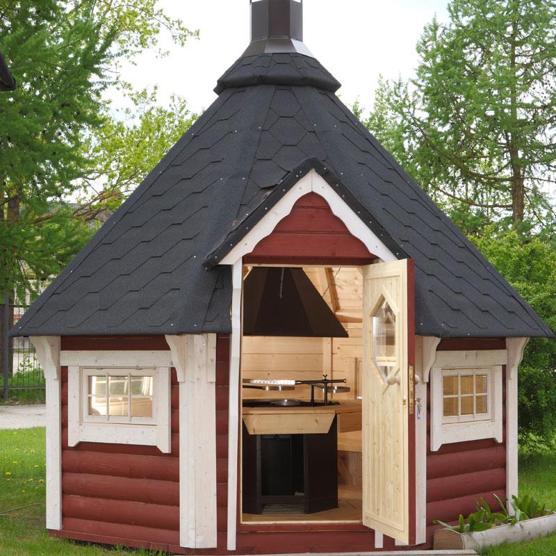 casetta in legno con barbecue armonia