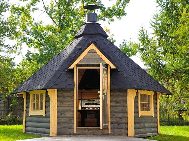 Casetta in legno AURA con barbecue