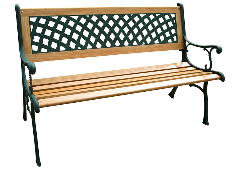 Panca Rombo in ghisa, legno e ABS